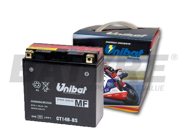 unibat ct14b bs 12v 12ah agm motorcycle battery batyre. Black Bedroom Furniture Sets. Home Design Ideas