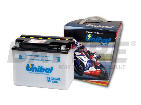 UNIBAT CB12B-B2 12V 12Ah FLA Motorcycle Battery