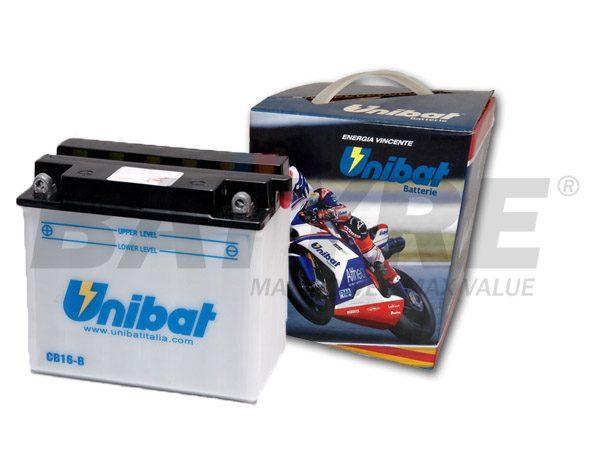 UNIBAT CB16-B 12V 19Ah FLA Motorcycle Battery