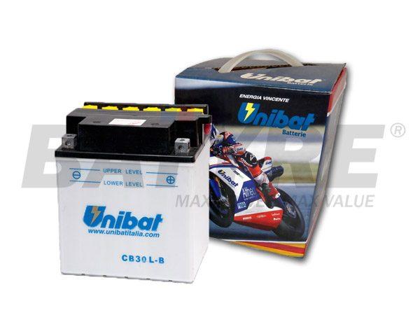 UNIBAT CB30L-B 12V 30Ah FLA Motorcycle Battery