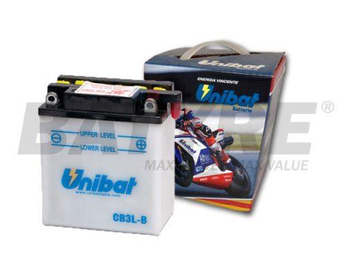 UNIBAT CB3L-B 12V 3Ah FLA Motorcycle Battery