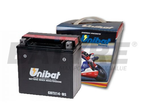 UNIBAT CBTX14-BS 12V 12Ah SLA Motorcycle Battery
