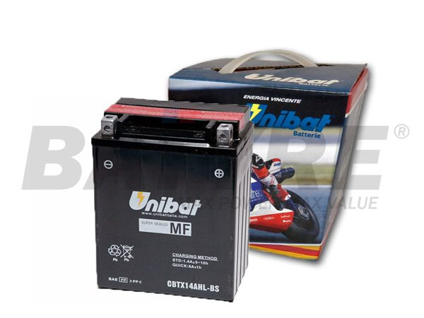UNIBAT CBTX14AHL-BS 12V 12Ah Motorcycle Battery
