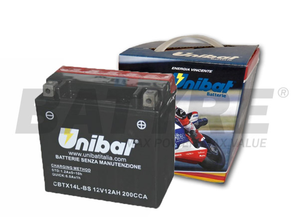UNIBAT CBTX14L-BS 12V 12Ah SLA Motorcycle Battery