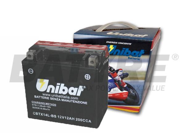 UNIBAT CBTX14L-BS 12V 12Ah SLA Motorcycle Battery
