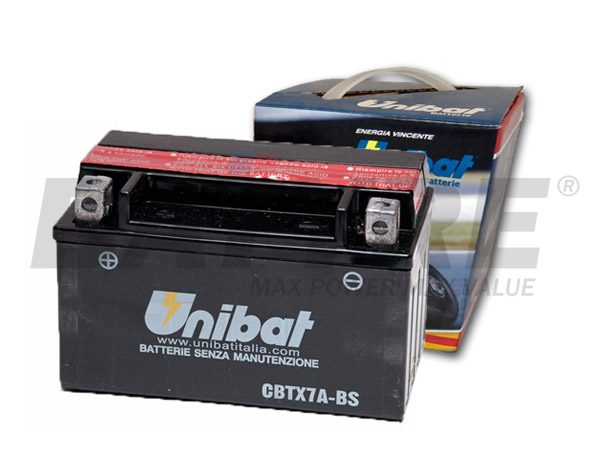 UNIBAT CBTX7A-BS 12V 6Ah SLA Motorcycle Battery