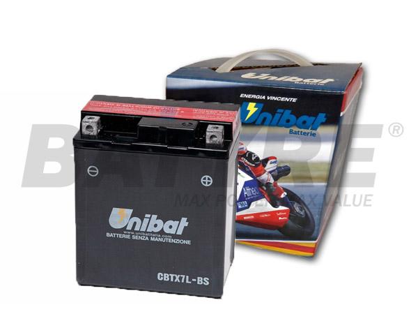 UNIBAT CBTX7L-BS 12V 6Ah SLA Motorcycle Battery