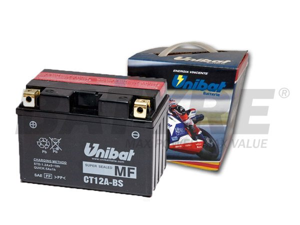 UNIBAT CT12A-BS 12V 10Ah AGM Motorcycle Battery