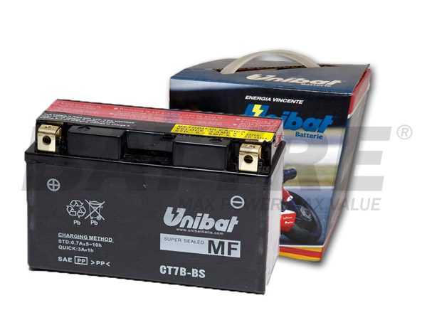UNIBAT CT7B-BS 12V 6.5Ah AGM Motorcycle Battery