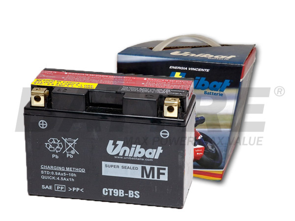 unibat ct9b bs 12v 8ah agm motorcycle battery batyre. Black Bedroom Furniture Sets. Home Design Ideas