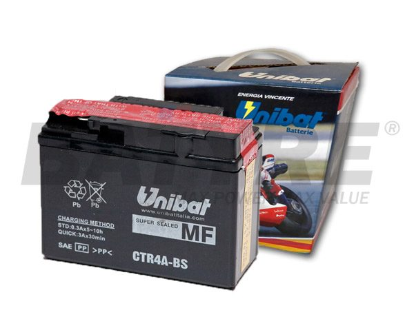UNIBAT CTR4A-BS 12V SLA Motorcycle Battery
