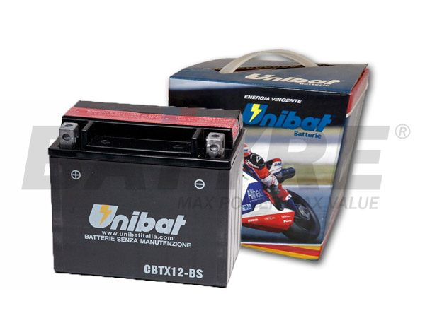 UNIBAT CBTX12-BS 12V 10Ah SLA Motorcycle Battery