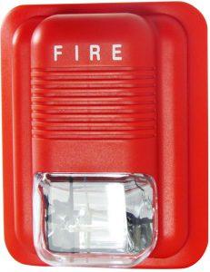 Battery powered fire alarm light