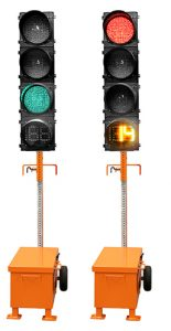Battery powered traffic lights